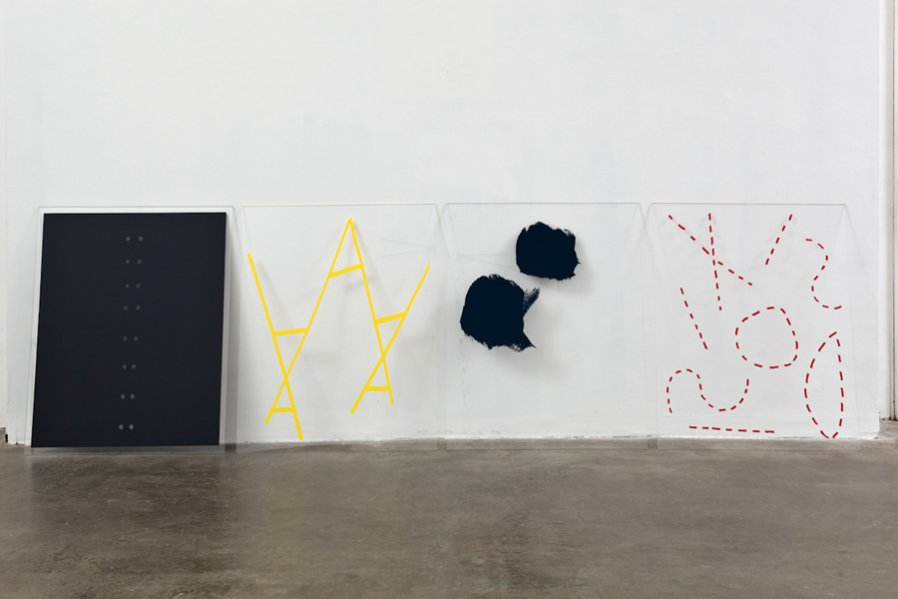 Lisa Williamson Diagrams (grey eyelets, yellow ladders, navy splotches, red dashes) 2011 Installation View Photo: Fredrik Nilsen