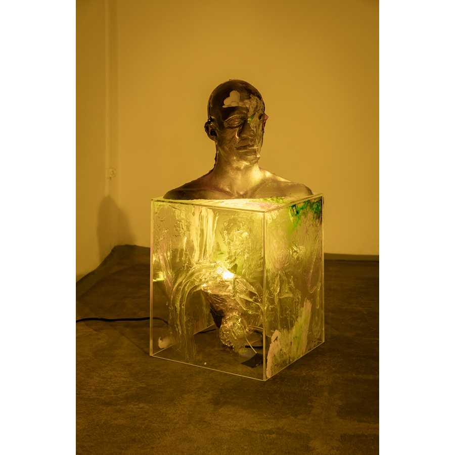 Nathaniel Mellors Bust Inside Out Dinosaur Mixed media 29 1/2 x 17 1/2 inches Photo: Fredrik Nilsen Studio