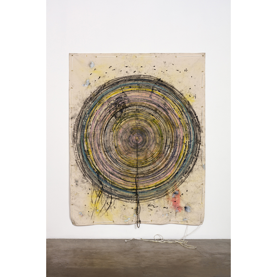 Naotaka Hiro Untitled (Crawl) 2016 Canvas, Fabric dye, Oil Pastel, Rope, Grommets 9 x 7 ft