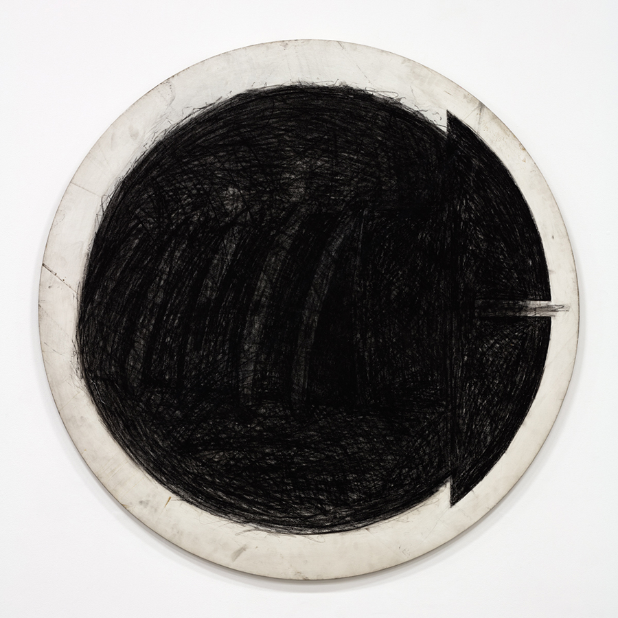 Judith Bernstein Circle Screw, 1970 Graphite on canvas Diameter: 48 inches